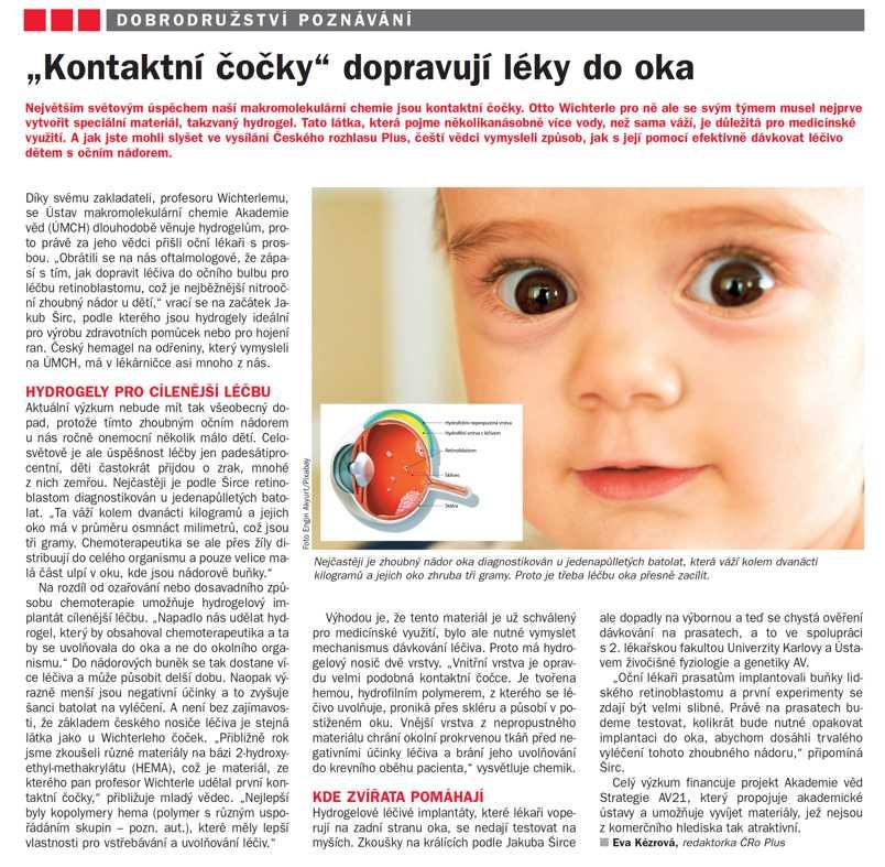 Kontaktní čočky dopravují léky do oka